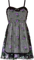 Anna Sui Cabbage Rose/Rosebud Silk Dress in Black Multi