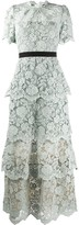 Self-Portrait Self Portrait flower lace tiered dress