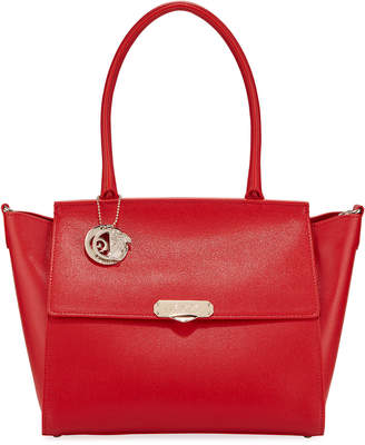 Versace Saffiano Large Top-Handle Crossbody Bag, Red