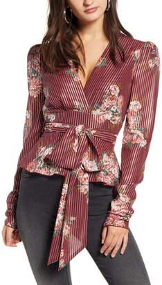 WAYF Montauk Floral Metallic Stripe Tie Waist Blouse
