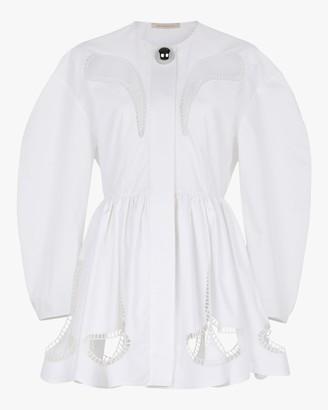Christopher Kane Petal-Embroidered Gathered Mini Dress