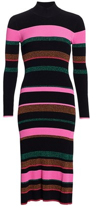 Tanya Taylor Colorblock Wool-Blend Mockneck Sheath Dress