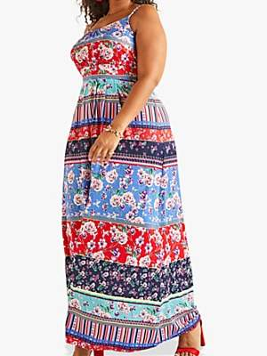 Yumi Curves Patchwork Stripe Jersey Maxi Dress, Multi