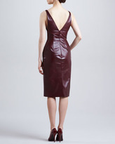 J. Mendel Fitted Plunging Leather Dress, Port