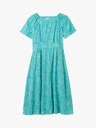 White Stuff Ebony Floral Embroidery Cotton Dress, Teal