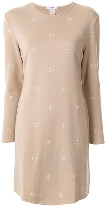 Celine Pre Owned logo embroidered knitted dress