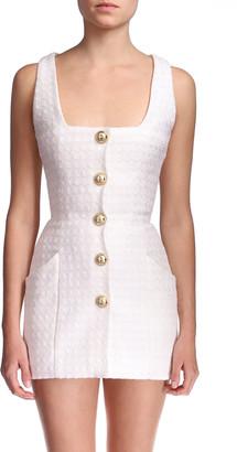 Balmain Tweed Button-Front Mini Dress