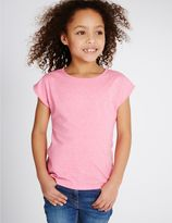 Marks and Spencer Dipped Hem Cap Sleeve Top (3-14 Years)
