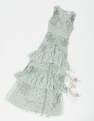 Maya lace embellished ruffle hem maxi dress in green