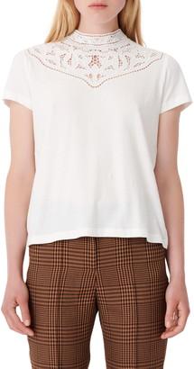 Maje Cutwork Yoke T-Shirt