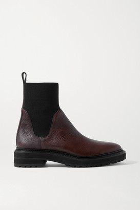 Loeffler Randall Bridget Textured-leather And Stretch-knit Chelsea Boots - Chocolate