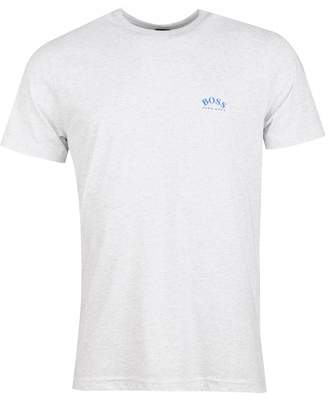 BOSS Curved Logo Crew Neck Tshirt Colour: BLUE, Size: SMALL