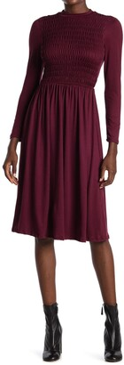 Velvet Torch Mock Neck Smocked Dress