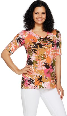Denim & Co. Active Tropical Print Elbow Sleeve V-Neck Top