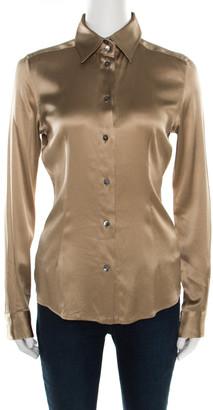 Dolce & Gabbana Beige Silk Satin Long Sleeve Button Front Shirt S