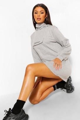 boohoo Balloon Sleeve Sweatshirt Dress