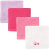 Hudson Baby Pink Fish Washcloth Set