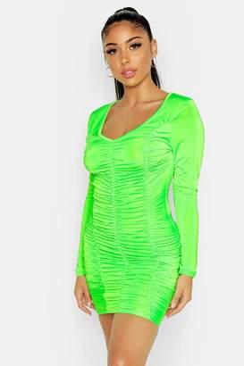 boohoo Long Sleeved Ruched Mini Dress