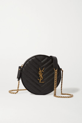 Saint Laurent Circle Quilted Textured-leather Bag - Black
