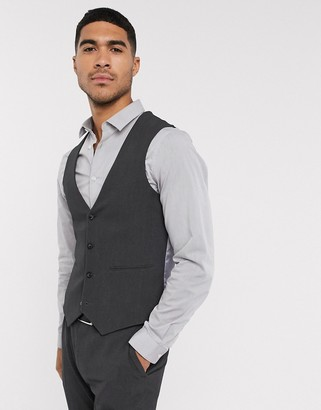 ASOS DESIGN wedding super skinny suit waistcoat in charcoal four way stretch