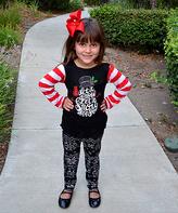 Beary Basics Red Stripe 'Let It Snow' Top & Leggings - Toddler & Girls
