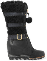 Sorel Helen Waterproof Shearling And Nubuck Wedge Boots - Black