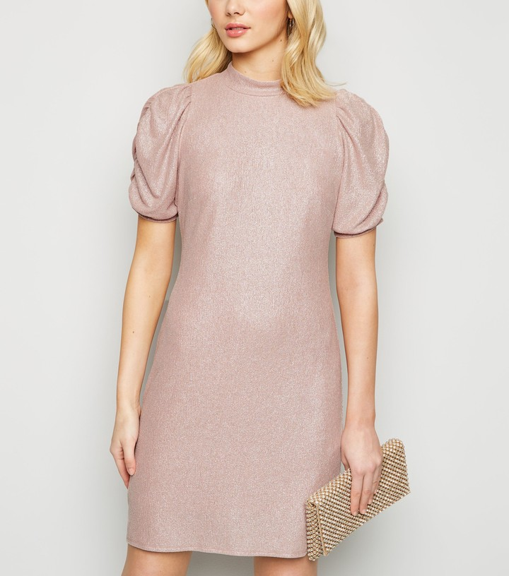 Thumbnail for your product : New Look Glitter Puff Sleeve High Neck Dress