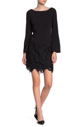 Laundry by Shelli Segal Boatneck Long Sleeve Floral Lace Dress