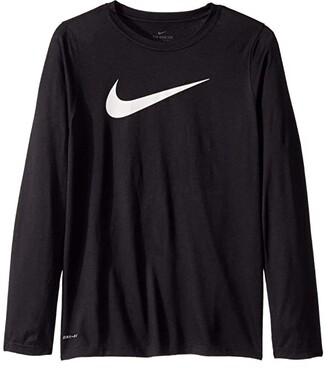 Nike Kids Dry Legend Long Sleeve Training T-Shirt (Big Kids) (Black) Boy's Clothing