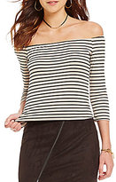 GB Rib Knit Horizontal-Stripe Off-The-Shoulder Crop Top