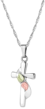 """Black Hills Gold Cross Pendant 18"""" Necklace in Sterling Silver with 12K Rose and Green Gold Details"""