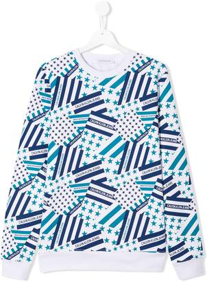 Calvin Klein Kids TEEN logo flag print sweatshirt