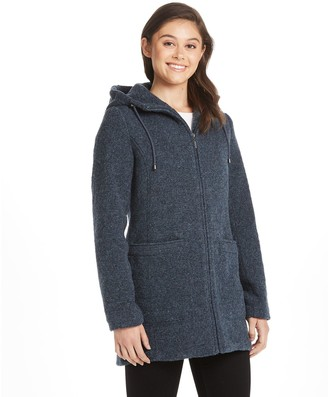 Women's Weathercast Hooded Midweight Zip Front Wool Blend Walker Jacket