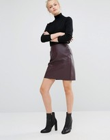 Warehouse Leather Look Skirt