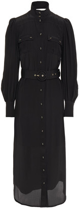 Zimmermann Belted Silk Crepe De Chine Shirt Dress