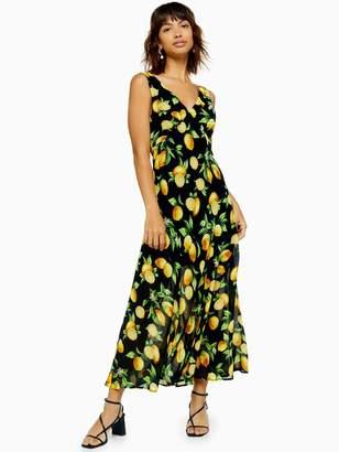 Topshop Lemon Print Bias Cut Midi Dress - Black