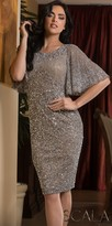 Scala Dazzling Sequin Drape Sleeve Cocktail Dress