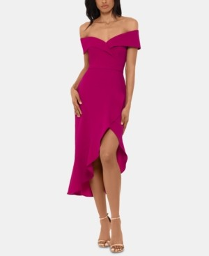 Xscape Evenings Off-The-Shoulder Midi Dress