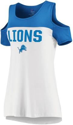 Majestic Women's White/Blue Detroit Lions Pure Dedication Open Shoulder T-Shirt