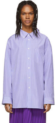 Balenciaga Blue and White Swing Collar Shirt