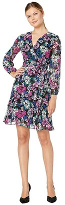 Tahari ASL Long Sleeve Clip Dot Chiffon Floral Dress w/ Tiered Skirt Detail (Black Berry Bloom) Women's Dress