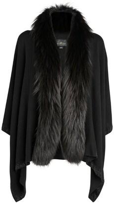 William Sharp Cashmere Fox Fur-Trim Cardigan