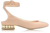 Nicholas Kirkwood Lola Light Blush Patent Leather Pearl Ballerina