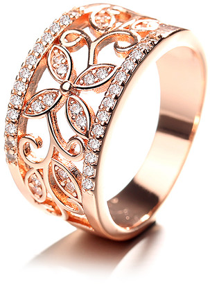 Swarovski Amy and Annette Women's Rings Rose - 14K Rose Gold-Plated Flower Filigree Band With Crystals