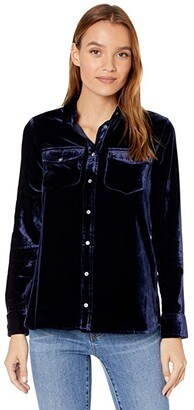 J.Crew Classic-Fit Shirt in Drapey Velvet (Navy Twilight) Women's Clothing