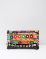 Asos Leather Embroidered Mirror And Coin Clutch Bag