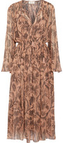 Zimmermann Lavish Smocked Printed Silk-Chiffon Midi Dress