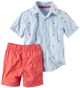 Carter's Toddler Boy Short Sleeve Anchor Print Button-Down Shirt & Shorts Set