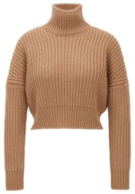 HUGO BOSS Cropped Structured Knit Sweater In Wool With High Neckline - Light Brown