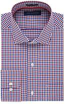 Tommy Hilfiger Men's Non Iron Regular Fit Mini Check Spread Collar Dress Shirt